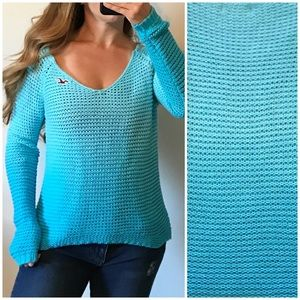 HOLLISTER Blue Chunky Ombré Open Knit Sweater Sm